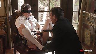 Biddable schoolgirl Devon Green does as her masterful lover desires