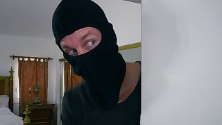 POV home sex all over the busty wife and a masked robber