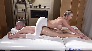 Deep penetration be incumbent on the leader masseuse after a charming XXX foreplay