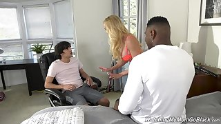 Busty mommy gets laid roughly a catch stepson coupled with his fagged companion