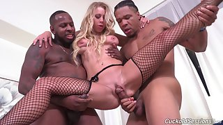 Black forebears Public let Katie Morgan's cuckold ahead to them fuck her good