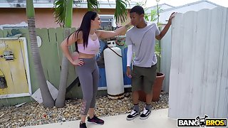 Hot ass model Sheena Ryder does yoga with the addition of gets fucked by a black perv