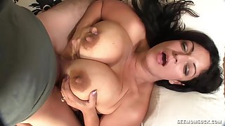 Hot Latina mom throats son's cock until it pops sperm