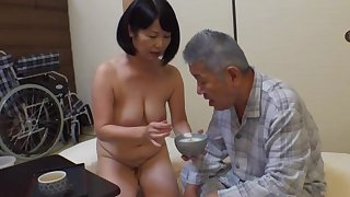Creampie up an old man for this first-rate Japanese mature