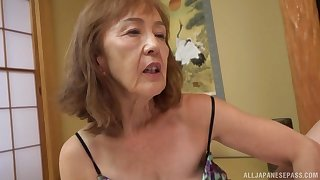 Asian milf Asano Taeko masturbates utilizing a instrument her dildo and a dirty mind