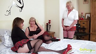 Trilogy sexual border with three busty british lesbian matures increased by coition toys