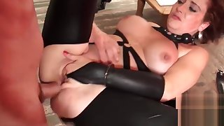 Babe with broad in the beam boobs lets maledom treat their way like slave