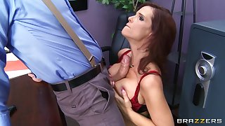 Brunette pornstar Syren De Mer fucked in for everyone holes by a huge cock