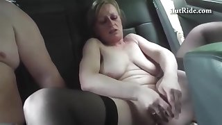 Large-Breasted Czech Mom Shows Her Cunt in the Car