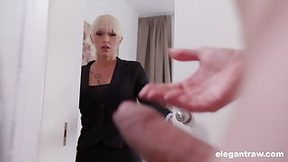Christina catches her business partner jerking elsewhere and decides to help him