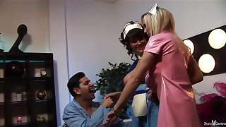 Insatiable nurses would never miss an opportunity for a good fuck, even during their working hours