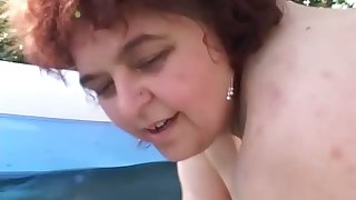 Naked fat ugly adult whores are brim about to go poof a bit outdoors