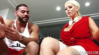 Housewife with king size boobs Alura Jenson bangs husband's personal bus